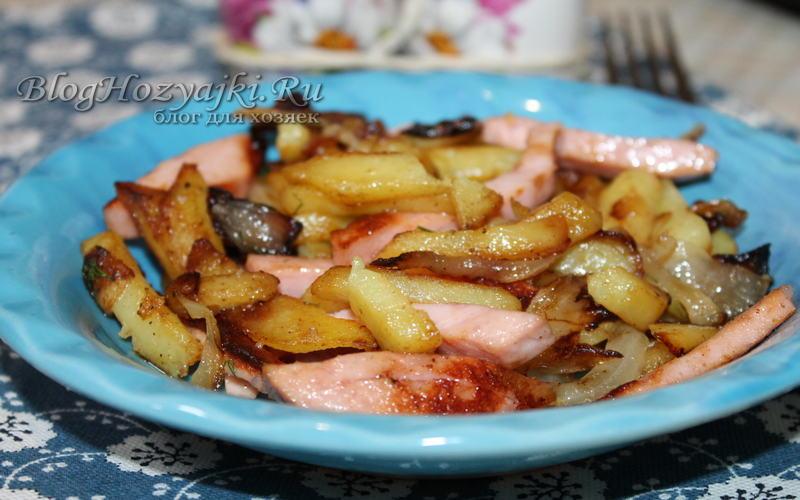 Жареная картошка с колбасой