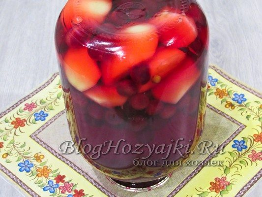 Компот из яблок и вишни на зиму в 3-х литровой банке