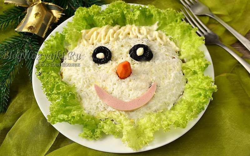 Слоеный салат с курицей и грибами в виде снеговика